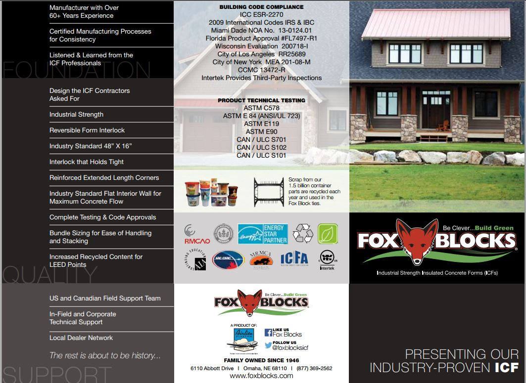 Fox Blocks Brochure Concrete Homes Services